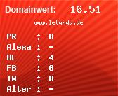 Domainbewertung - Domain www.letanda.de bei domainwert1.de