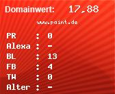Domainbewertung - Domain www.paint.de bei domainwert1.de