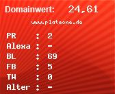 Domainbewertung - Domain www.plateone.de bei domainwert1.de