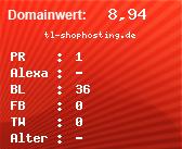 Domainbewertung - Domain tl-shophosting.de bei domainwert1.de