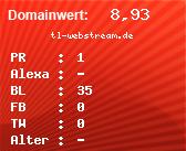 Domainbewertung - Domain tl-webstream.de bei domainwert1.de