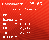 Domainbewertung - Domain www.socialearn.de bei domainwert1.de