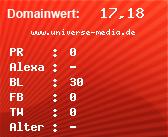 Domainbewertung - Domain www.universe-media.de bei domainwert1.de