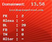 Domainbewertung - Domain localbusinessfound.com bei domainwert1.de
