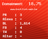 Domainbewertung - Domain www.backlink-web.be bei domainwert1.de