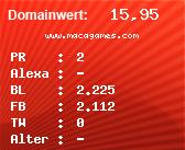 Domainbewertung - Domain www.macagames.com bei domainwert1.de