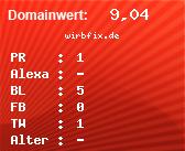 Domainbewertung - Domain wirbfix.de bei domainwert1.de