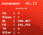 Domainbewertung - Domain google.de bei domainwert1.de