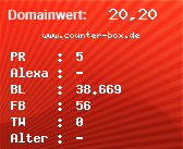 Domainbewertung - Domain www.counter-box.de bei domainwert1.de
