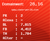 Domainbewertung - Domain www.casa-world.com bei domainwert1.de