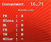Domainbewertung - Domain dnsask.com bei domainwert1.de