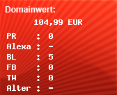 Domainbewertung - Domain www.tarifkette.de bei domainwert1.de