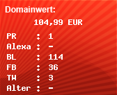 Domainbewertung - Domain just-angel.de bei domainwert1.de